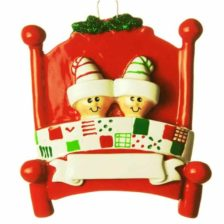 Bed Head Personalised Christmas Ornament – Family of 2 Family of 2