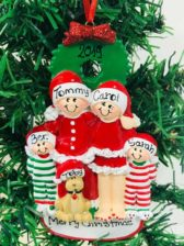 Christmas Eve Personalised Christmas Ornament – Family of 4 with dog Animals